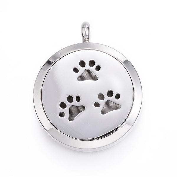 Pet Paws-  Stainless Steel Diffuser Locket Pendants