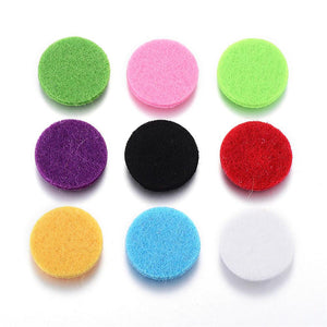 Fiber Pads, Essential Oils Diffuser Locket Pads, Flat Round, Mixed Colour, 22x3mm