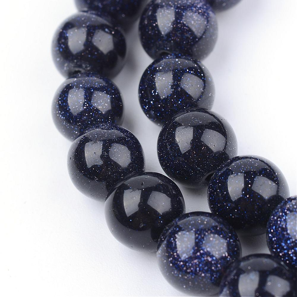 Synthetic Blue Galaxy Beads Strands, Round, 10~10.5mm, Hole: 1.2mm