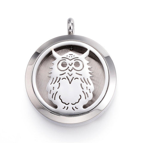 Owl -  Stainless Steel Diffuser Locket Pendants