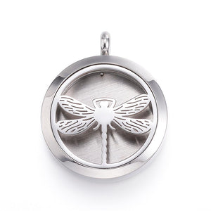 Dragon Fly-  Stainless Steel Diffuser Locket Pendants