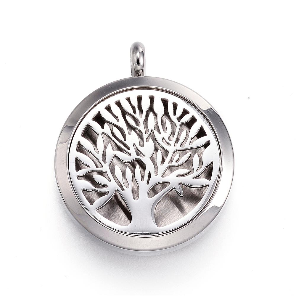 Tree of Life -  Leaf Design Stainless Steel Diffuser Locket Pendants