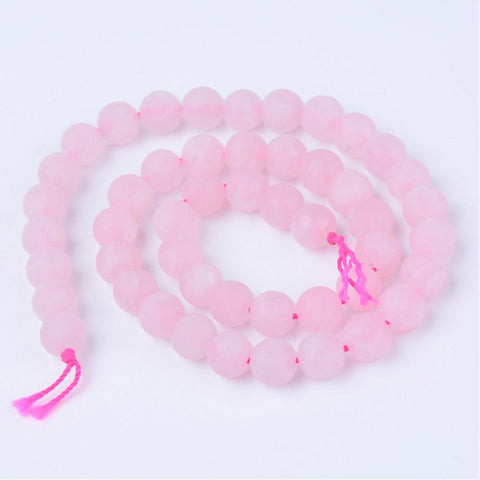 Rose Quartz Beads Strands, Round, Frosted, 10~10.5mm, Hole: 1.2mm;