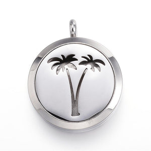 Palm Trees -  Stainless Steel Diffuser Locket Pendants