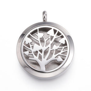 Tree of Life -  Heart Design Stainless Steel Diffuser Locket Pendants