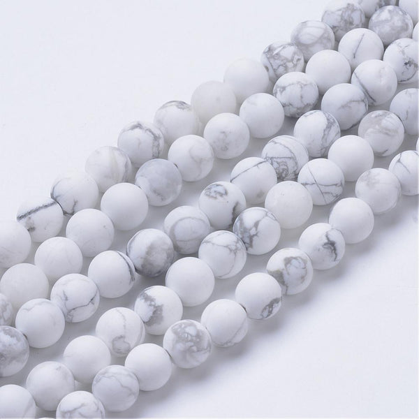 Natural Howlite Beads Strands, Frosted Style, Round, 8~8.5mm, Hole: 1mm