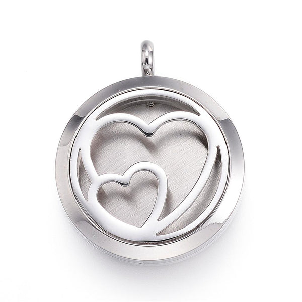 Double Heart-  Stainless Steel Diffuser Locket Pendants