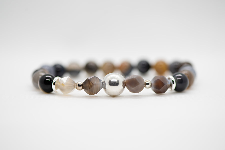 Natural Botswana Agate with Quartz with Silver Metal accent pieces
