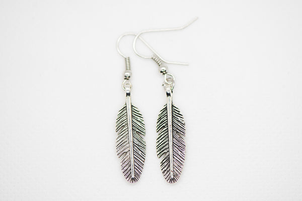 Feather with Lava bead earrings