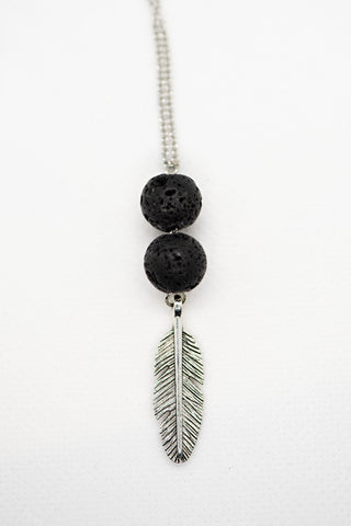 Feather with Lava bead on stainless steel chain