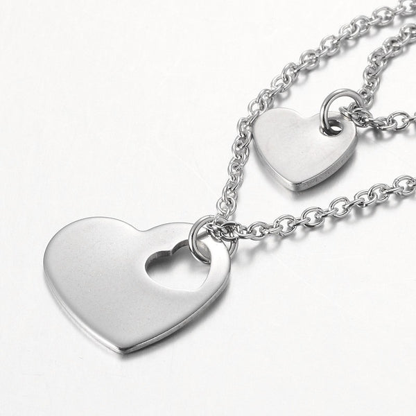 Two Tier Stainless Steel Necklaces, with Heart Pendants and Cross Chains, Stainless Steel Color, 15.9""