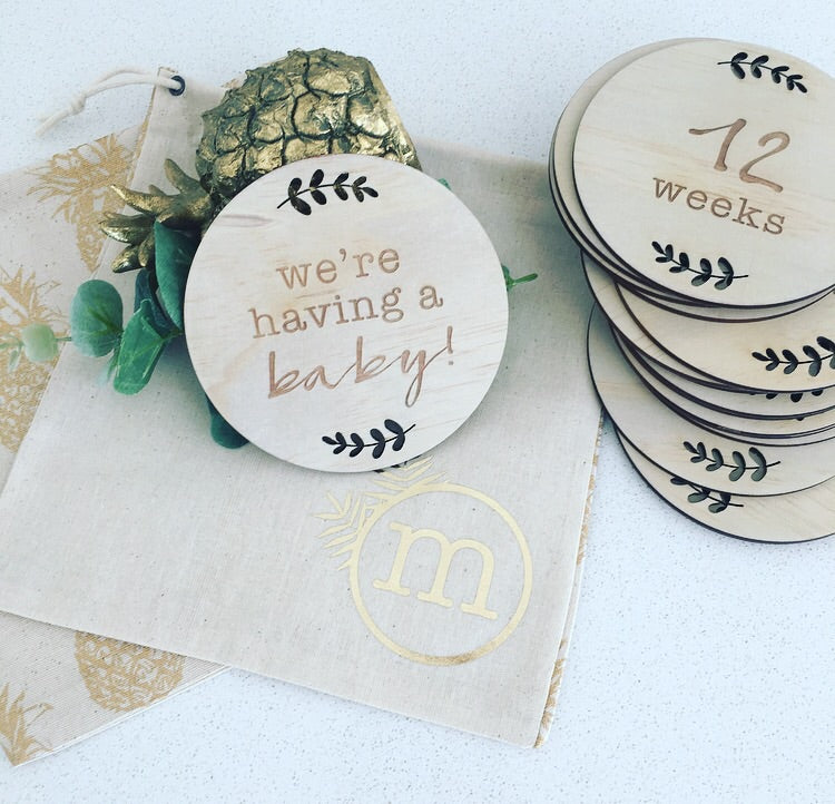 Etched Timber Pregnancy Milestone Cards