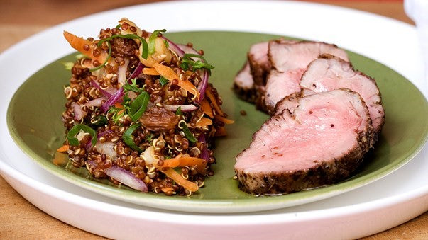 Horopito rubbed lamb with quinoa raisin carrot salad