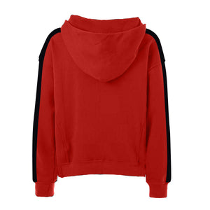 Oversized Stripe Drawstring Hoodie - Red/Black - Insurgence Wear - Affordable Streetwear Essentials