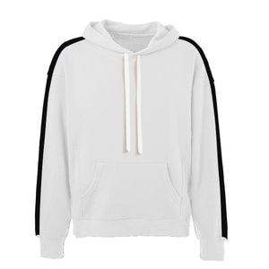 Oversized Stripe Drawstring Hoodie - White/Black - Insurgence Wear - Affordable Streetwear Essentials