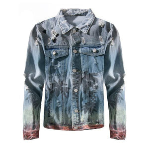 Ripped Tropical Gradient Denim Jacket - Quality Affordable Streetwear