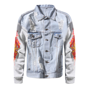 Flame Ripped Denim Jacket - Insurgence Wear - Affordable Streetwear Essentials