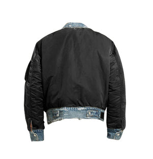 Reversible Bomber Denim Jacket - Black - Insurgence Wear - Affordable Streetwear Essentials