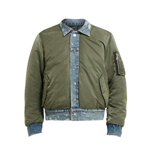 Reversible Bomber Denim Jacket - Olive - Insurgence Wear - Affordable Streetwear Essentials
