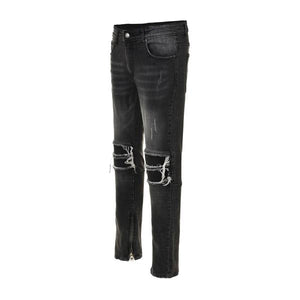 Biker Zipper Denim - Black - Premium, Affordable Streetwear