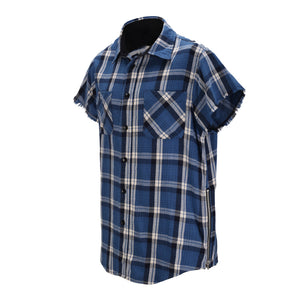 Plaid Sleeveless Shirt  with side zipper - Blue - Insurgence Wear - Affordable Streetwear Essentials