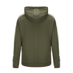 Striped Zipper Terry Hoodie - Olive - Insurgence Wear - Affordable Streetwear Essentials