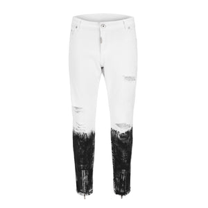 Stonewashed Ripped Zipper Denim - White - Insurgence Wear - Affordable Streetwear Essentials