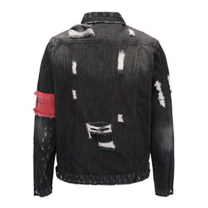 Destroyed Denim Jacket with Armband - Black - Insurgence Wear - Affordable Streetwear Essentials