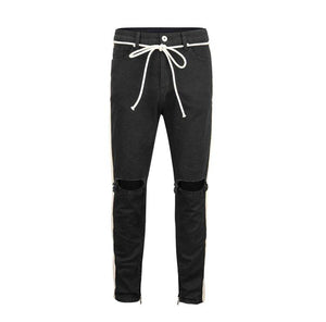 Ripped Stripe Denim - Black - Insurgence Wear - Affordable Streetwear Essentials