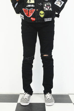 Ripped Essential Zipper Denim - Black - Insurgence Wear - Affordable Streetwear Essentials