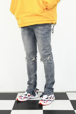 Ripped Essential Zipper Denim - Blue - Insurgence Wear - Affordable Streetwear Essentials