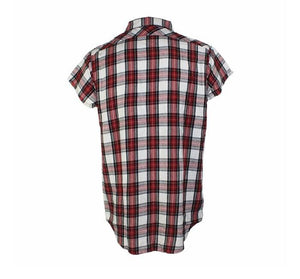 Plaid Sleeveless Shirt with side zipper - Red - Insurgence Wear - Affordable Streetwear Essentials