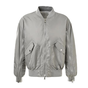 Dual Zip Bomber - Silver - Insurgence Wear - Affordable Streetwear Essentials