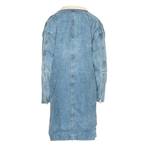 Premium Cashmere Long Denim Coat - Insurgence Wear - Affordable Streetwear Essentials