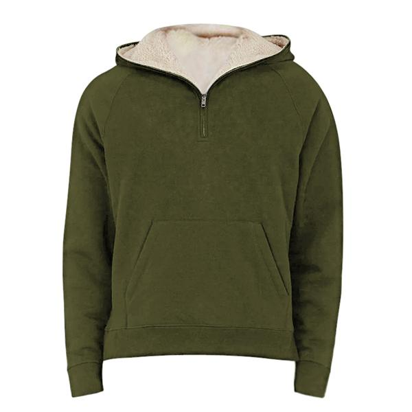Premium Half Zip Fleece Zipper Hoodie - Olive - Insurgence Wear - Affordable Streetwear Essentials