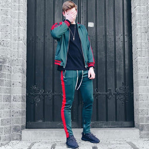 Retro Trackjacket - Green / Red - Quality Affordable Cheap Streetwear - Insurgence Wear