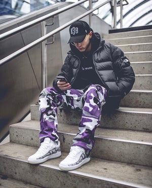 Camo Cargo Pants - Purple