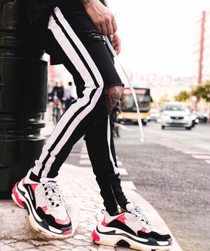 Dual Striped Trackpants - Black - Insurgence Wear - Streetwear Essentials