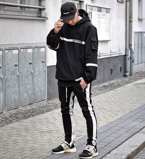 Retro Trackpants S2 - Black double White - Premium, Affordable Streetwear