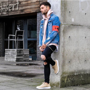 Destroyed Denim Jacket with Armband - Blue - Insurgence Wear - Affordable Streetwear Essentials
