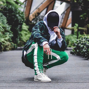 Retro Trackpants S2 - Green double White - Premium Quality & Affordable Streetwear