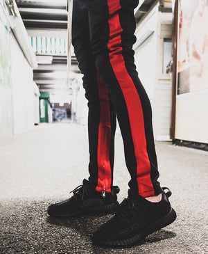 Retro Trackpants S2 - Black double Red - Quality Affordable Streetwear