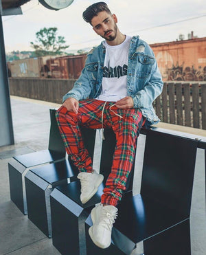 Plaid Trackpants - Red