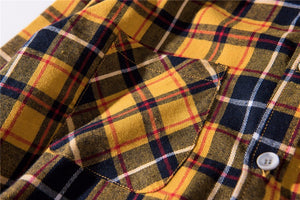 Oversized Flannel Shirt - Yellow/Blue - Premium Quality & Affordable Streetwear
