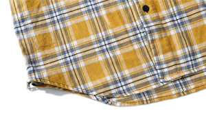Plaid Sleeveless Shirt with side zipper - Yellow - Quality Affordable Streetwear