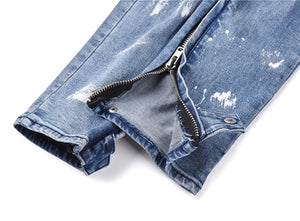 Ravaged Zipper Denim - Blue - Premium, Affordable Streetwear