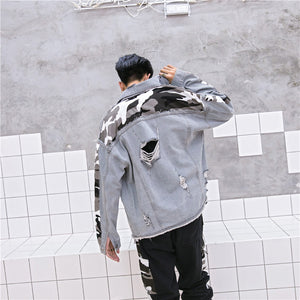 Camo Ripped Denim Jacket - Quality Affordable Streetwear