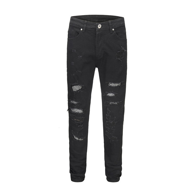 Patched N Ripped Denim - Black - Premium, Affordable Streetwear