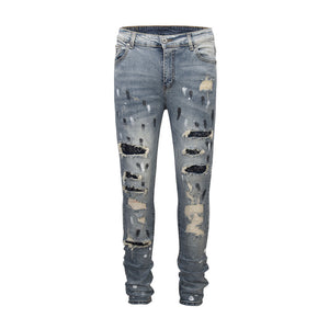 Patched N Ripped Denim - Blue - Premium, Affordable Streetwear