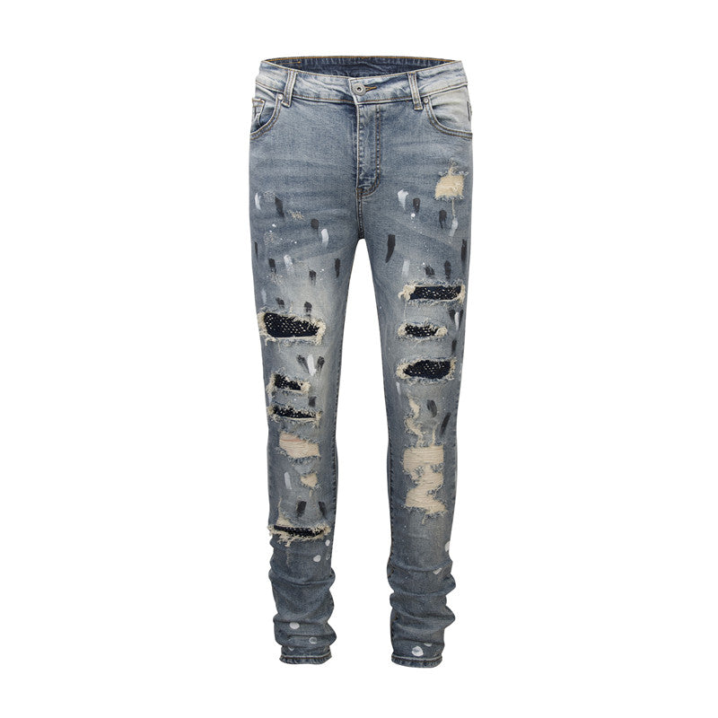Patched N Ripped Denim - Blue - Insurgence Wear - Streetwear Essentials
